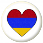 Armenia Country Flag Heart 25mm Pin Button Badge